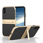 Fit Smart Cover med Stander til iPhone X - Lys Guld