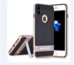 Fancy Stander Cover i TPU plast til iPhone X - Rosa Guld