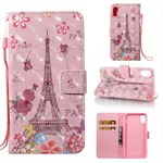 iPhone X Cover Color Painted Wallet Style 3D - Butterfly and Tower