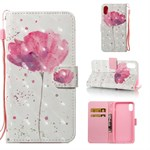iPhone X Cover Color Painted Wallet Style 3D - Pink Flower