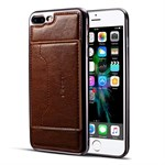 New Style Cover med kortholder og stander til iPhone 7 Plus/ iPhone 8 Plus - Coffee
