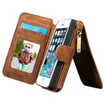 Luxury CaseMe Flap pung iPhone 5/5S/SE - Brun