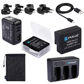 PULUZ® Combo Batteri Kit 5 in 1 til GoPro Hero 5/Hero 6 / Hero 7