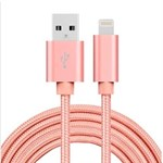 Kvalitets Nylon Lightning Kabel Rose Gold - 2 Meter