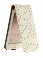 Diamond klap etui iPhone 5/5S/SE - Cremehvid