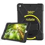 New 360° Rotations Cover med Stander og Håndledsrem til iPad 9.7 (2018) / iPad 9.7 (2017) -  Sort