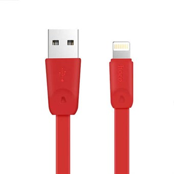 Hoco Lightning USB Data/Sync. kabel rød - 1 meter
