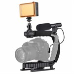 PULUZ® U/C Shape Handheld DV Bracket Stabilizer/ LED Light/ Mikrofon til GoPro