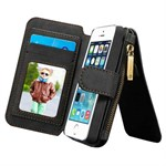 Luxury CaseMe Flap pung iPhone 5/5S/SE - Sort