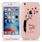 See thru silikonecover m. design iPhone 6/6s - Black feather