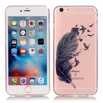 See thru silikonecover m. design iPhone 6/6s - Fly feather